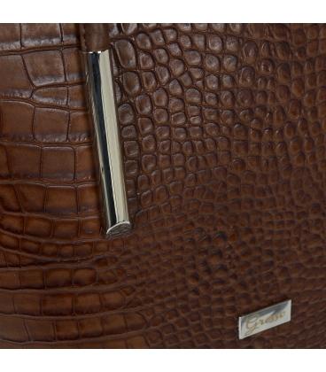 Veľká hnedá shopper kabelka s jemným vzorom a dlhými rúčkami 19V0166black- Grosso