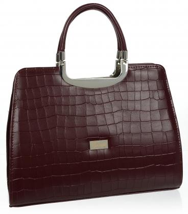 Bordová elegantná štvorcová kabelka s jemným vzorom 19v0006bordo