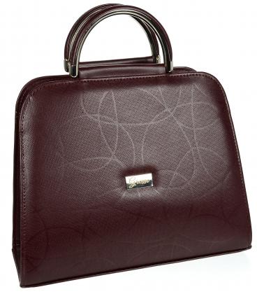 Bordová elegantná matná kabelka s jemným vzorom 19v0006bordo