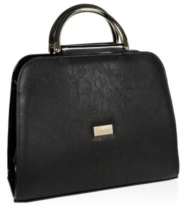 Čierna elegantná štvorcová kabelka s jemným vzorom 19v0006black