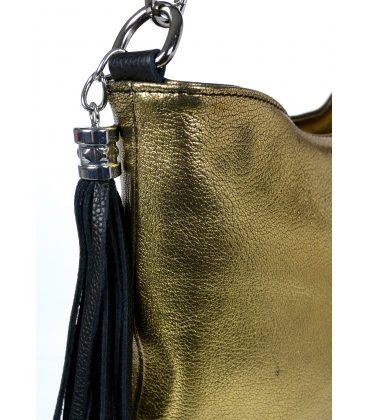 Zlatá priestranná kabelka s čiernymi rúčkami V18SM042gld - GROSSO