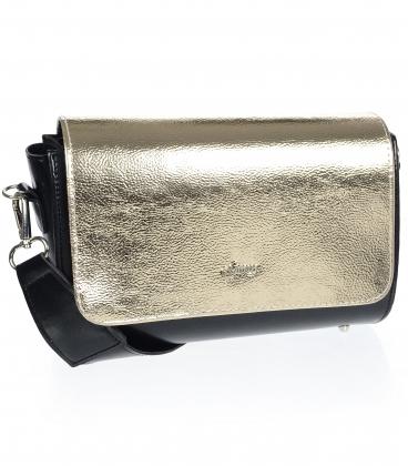 Čierno zlatá crossbody kabelka s ozdobným zapínaním km0013 brown