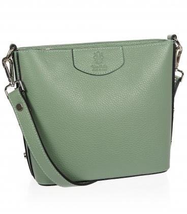 Zöld színű bőr crossbody táska kroko mintával KM023