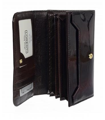 Dámska bordovo čierna lakovaná peňaženka so vzorom LORENTI