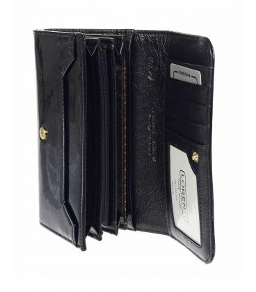 Dámska čierna lakovaná peňaženka so vzorom LORENTI