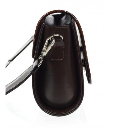 Hnedá crossbody kabelka s jemným kroko vzorom KM013kroko