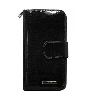 Dámska čierna lakovaná peňaženka s jemným vzromom LORENTI