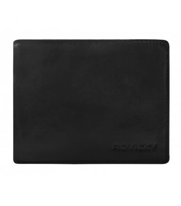 Dárkový set: Pánská kožená černá prostorná peněženka + pánský černý pásek ROVICKY