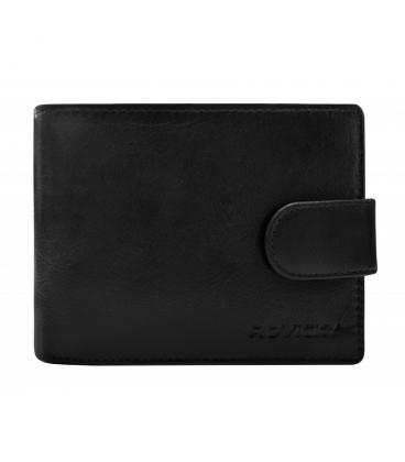 Dárkový set: Pánská kožená černá peněženka se zapínáním + pánský černý pásek ROVICKY