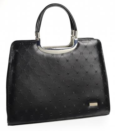Černá elegantní matná kabelka se vzorem 19v0006bordo