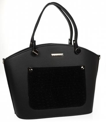 Čierna elegantná kabelka s ozdobným vreckomV18SM033- GROSSO