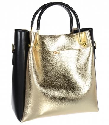 Černo zlatá elegantní kabelka V18SM085GLDB- GROSSO