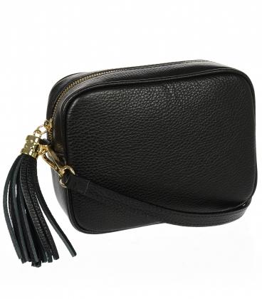 Malá čierna štýlová kožená kabelka KM009black OLIVIA BAG