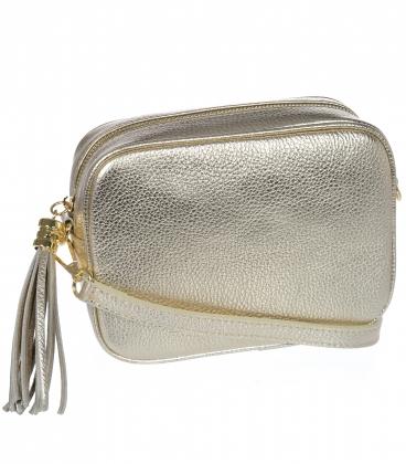 Malá zlatá štýlová kožená kabelka KM009gold OLIVIA BAG