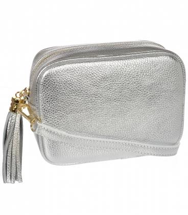 Malá strieborná štýlová kožená kabelka KM009silver OLIVIA BAG