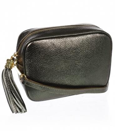 Malá bronzová stylová kožená kabelka KM009BLCK OLIVIA BAG