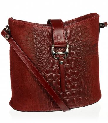 Bordó crossbody bőr táska kroko mintával KMPL030 OLIVIA BAG