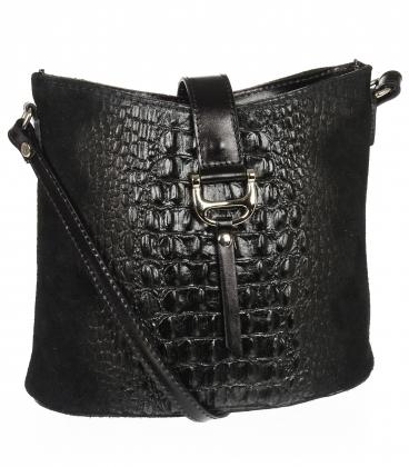 Čierna kožená crossbody kroko kabelka KMPL030 OLIVIA BAG