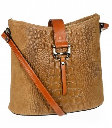 Hnedá kožená crossbody kroko kabelka KMPL030 OLIVIA BAG