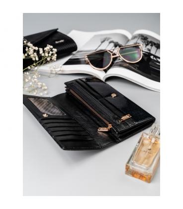 Dámska čierna lakovaná peňaženka s jemným vzorom ROVICKY
