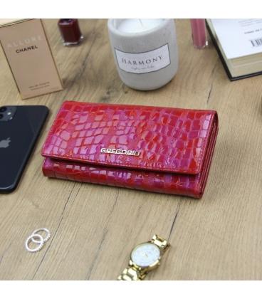 Női piros-rózsaszín lakkozott pénztárca GREGORIO mintával