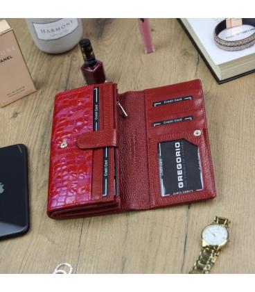 Dámska červeno ružová lakovaná peňaženka so vzorom GREGORIO