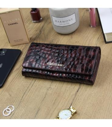 Dámská bordovo-hnědá lakovaná peněženka se vzorem GREGORIO