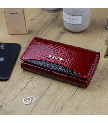 Dámská červeno-černá lakovaná peněženka se vzorem GREGORIO