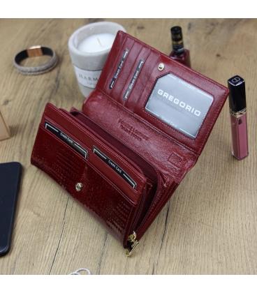 Dámska červeno-čierna lakovaná peňaženka so vzorom GREGORIO