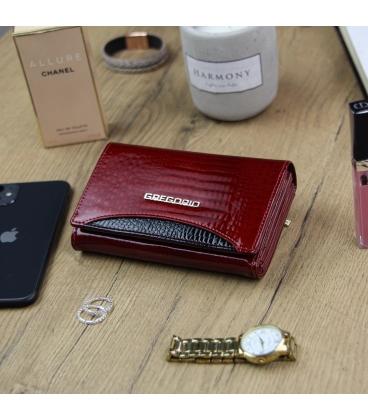 Női piros-fekete lakkozott pénztárca GREGORIO mintával