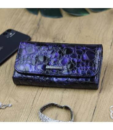 Női kék-lila lakkozott pénztárca GREGORIO mintával