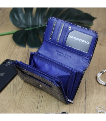 Dámska modro-fialová lakovaná peňaženka so vzorom GREGORIO