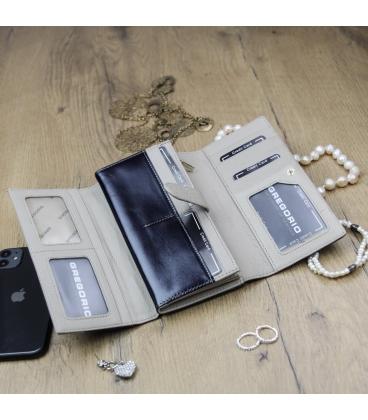 Női fekete-bézs színű lakkozott GREGORIO pénztárca