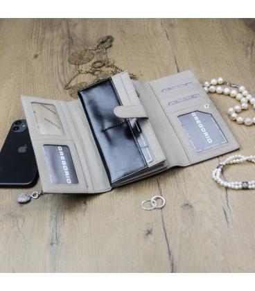 Dámská černo- béžová lakovaná peněženka GREGORIO