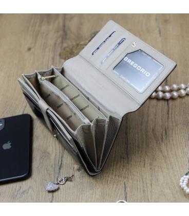 Dámska čierno- béžová lakovaná peňaženka GREGORIO