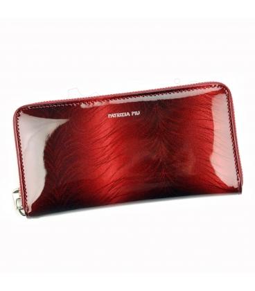 Női piros színű lakkozott pénztárca PATRIZIA mintával