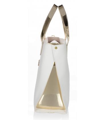 Bielo zlatá elegantná kabelka V18SM101- GROSSO