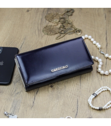Dámská tmavě modrá lakovaná peněženka GREGORIO