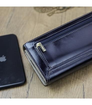 Dámska tmavo modrá lakovaná peňaženka GREGORIO