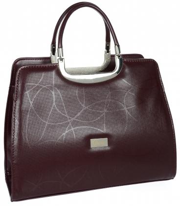 Bordová elegantná matná kabelka s jemným vzorom19v0006bordo