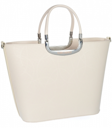 Béžová elegantná jednoduchá vystužená kabelka V18SM002 - GROSSO