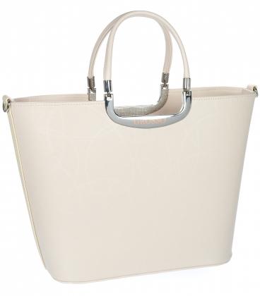 Béžová elegantní jednoduchá vyztužená kabelka V18SM002 - GROSSO