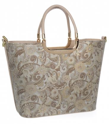 Hnědá třpytivá elegantní vyztužená kabelka se vzorem V18SM002 - GROSSO