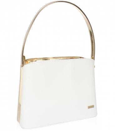 Bílo zlatá elegantní čtvercová kabelka 20V001goldwhite
