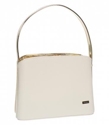 Bielo zlatá elegantná štvorcová kabelka 20V001goldwhite