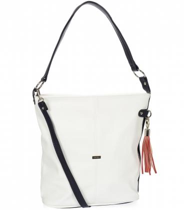 Bílá kabelka s bočními zipy a červeným přívěskem V18SM401