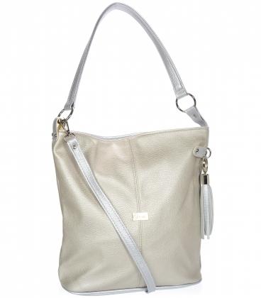 Zlato-stříbrná kabelka s bočními zipy a stříbrným přívěskem V18SM401