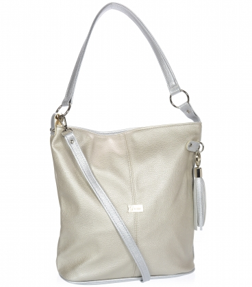 Zlato-strieborná kabelka s bočnými zipsami a strieborným príveskom V18SM401