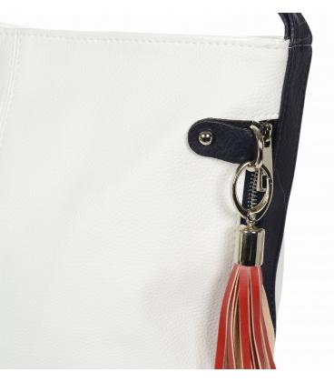 Fehér kézitáska oldalsó cipzárral és piros medál V18SM401