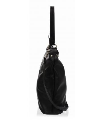 černá kabelka s bočními zipy a černým přívěskem V18SM401